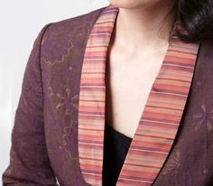 Unusual fabrics in daring combinations -- a curved, striped collar sets off Michelle's floral suit jacket.  Custom design by dangerousmathematicians.com