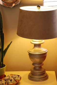 diy lamp...rewiring tutorial....faux metal treatment...SUPER CUTE