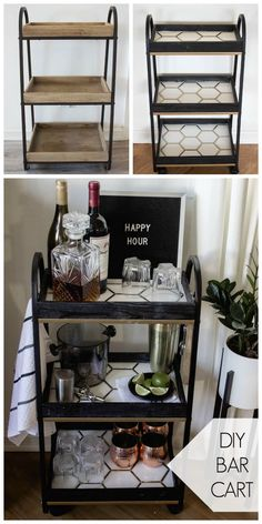 A Stylish DIY Bar Cart This modern bar cart is stunning! It's hard to believe that this is a DIY! Love the tile inlays and the mix of black, white, and gold on this DIY bar cart. Diy Bar Cart, Bar Cart Styling, Bar Cart Decor, Bar Carts, Ikea Bar Cart, Diy Home Decor For Apartments, Home Bar Decor, Diy Home Bar, In Home Bar Ideas