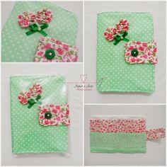 Carteira em Tecido TROPICAL , Patchwork - Estampa Rosa e Verde, Poá e Liberty