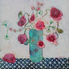 New online class: Painting Flowers from imagination in mixed media
