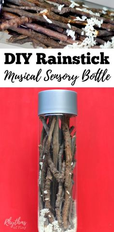 An easy upcylcled and naturally sourced DIY rainstick musical sensory bottle that will help children learn to self-regulate. This calm down jar is a musical instrument that is fun for kids to watch and listen to. It makes the gentle pitter-pat sound of rain when tipped from top to bottom. Discovery bottles are also great for no mess safe sensory play. Babies, toddlers, and preschoolers can safely investigate small objects without the risk of choking on them.