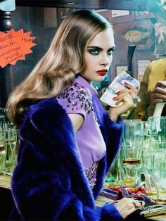 Cara Delevingne by Miles Aldridge in The red lion