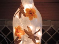 Handcrafted wine bottle light with by RecycledGiftsofGlass on Etsy