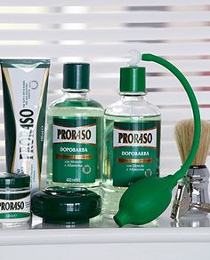Proraso - the BEST shaving products! -- I don't use everything but I have the brush and I love it. This is the favourite of Italian barbers.