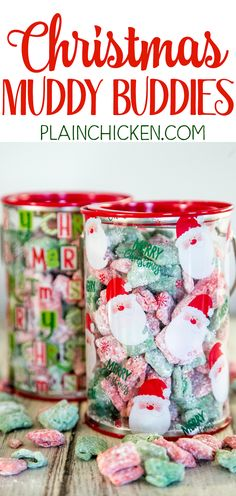 Christmas Muddy Buddies - chex cereal tossed in peanut butter, red and green candy melts and powdered sugar. This stuff is SO good! I am totally addicted to it! This recipe makes a TON! Makes a great homemade gift for the holidays! Christmas Food Treats, Christmas Brunch, Christmas Goodies, Christmas Candy, Holiday Baking, Christmas Desserts, Holiday Treats, Christmas Baking, Holiday Recipes