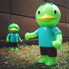 Soft vinyl figures by Koji Harmon. Made in Japan. Japan Time, Japanese Toys, Light Blue Shirts, Kappa, Vinyl Figures, Brown Shorts, Hand Painted, Graphic Design, Character