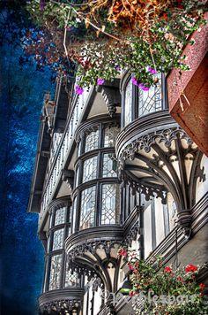 Beautiful half-timber bay windows in Chester, England ᘡɲbᘠ