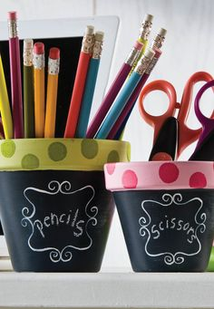 Make these DIY cute chalkboard flower pots! Great for flowers or organization!