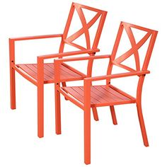 Casart 2 PCs Patio Chairs Orange Porch Garden Outdoor Dining Steel Slat Furniture Seat with Armrest * You can get additional details at the image link. (This is an affiliate link) #PatioFurniture