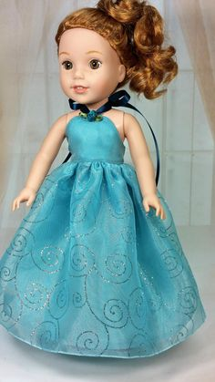 Wellie Wisher Aqua Strapless Sparkle Ball Gown, American Made to Fit 14 1/2 Inch Girl Dolls