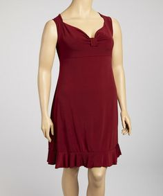 Take a look at this Burgundy Bow Front Dress - Plus by SHE on #zulily today!