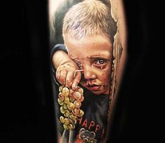 Very nice 3 colors realistic tattoo style of Crying child motive done by tattoo artist Lena Art Life Tattoos, Body Art Tattoos, Weeping Willow Tattoo, Color Tattoos, World Tattoo, Tattoos For Kids, Tattoos Gallery, Tattoo Designs Men, Beautiful Tattoos