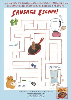 Ten Fat Sausages maze - from the book by Michelle Robinson and Tor Freeman