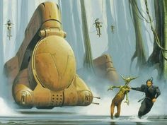 QuiGon and JarJar escaping a droid battle carrier on Naboo
