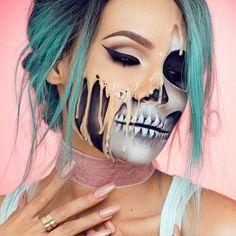 50 Pretty Halloween Makeup Ideas You'll Love | Halloween 2016 beauty looks for women | half skull