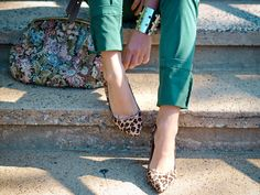 Loving green jeans with leopard print pumps these days