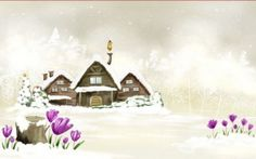 Preview wallpaper house, winter, drawing, snow, flowers