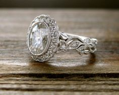 Oval Diamond Engagement Ring in 14K White Gold by SlowackJewelry