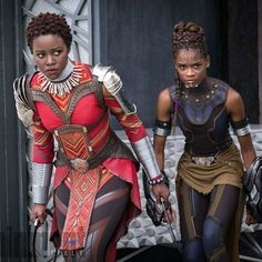 "4,034 Likes, 42 Comments - NUBIAMANCY (@nubiamancy) on Instagram: ""Promotional set photo from the Black Panther film Lupita Nyong'o & Letitia Wright. What do you…"""
