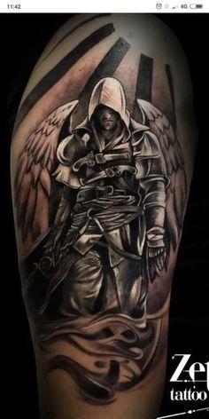 Knight Templar Warrior Hoodie - My list of best tattoo models God Tattoos, 4 Tattoo, Forearm Tattoos, Body Art Tattoos, Tatoos, Angel Warrior Tattoo, Warrior Tattoos, Badass Tattoos, Warrior Tattoo Sleeve