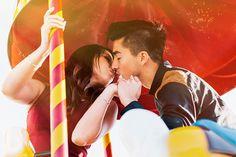 Long Beach Engagement photography | Henny + Jefferey | Sun Light Carousel