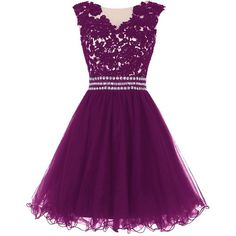 Dressystar Women's Lace Appliques Prom Cocktail Dresses with Beaded... (570 SEK) ❤ liked on Polyvore featuring dresses, short dresses, purple lace cocktail dress, lace cocktail dress, purple lace dress and mini dress