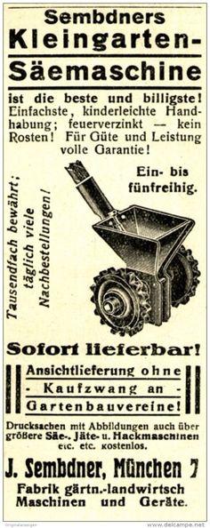 Original-Werbung/ Anzeige 1920 - SEMBDNER'S KLEINGARTEN - SÄEMASCHINE / MÜNCHEN -ca. 45 x 110 mm