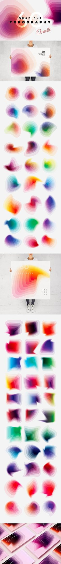 Gradient Topography collection by Polar Vectors on @creativemarket