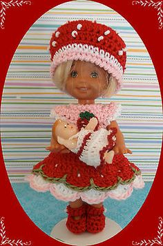 "Crochet Doll Clothes Strawberry Baby Doll for 4 ½"" Kelly Same Sized Dolls 