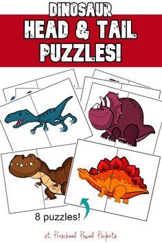 Dinosaur Head / Tail Puzzles - Free Preschool Activity