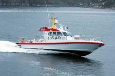 NEJAT 1, Båtservice Mandal AS. High Speed Emergency Response vessel. Design by Ola Lilloe-Olsen. MAN 2x 750KW feeding Hamilton waterjetsa. 36 knots.