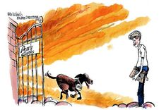 This cartoon by AJC's Mike Luckovich shows Lewis Grizzard being greeted by his dog, Catfish, at the entrance to heaven.  This is how it will be when I go home to see Scooter and Maggie.