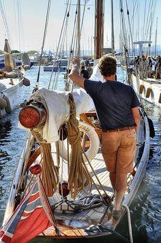 Onboard the narrow racing yacht