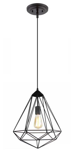 lovely diamond-shaped iron cage pendant light in black finish