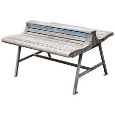 View this item and discover similar for sale at - Antique wood slat double bench with iron base. Modern Garden Furniture, Outdoor Furniture, Outdoor Decor, Low Dining Table, Wood Slats, How To Antique Wood, French Antiques, The Originals, Park