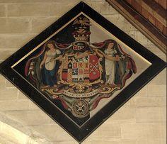 Hatchment - 1837 Nathaniel 2nd Baron Scarsdale m1 Sophia Susanna 3rd daughter of Edward 1st Viscount Wentworth, m2 Felicité Anne Josephe de Wattines.