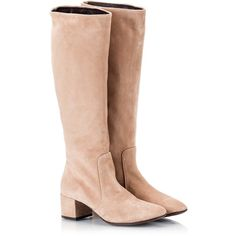 Attilio Giusti Leombruni Nude suede leather block heel knee-high boots (695 BAM) ❤ liked on Polyvore featuring shoes and boots