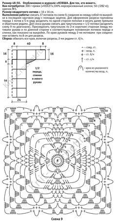Выкройка, схемы узоров с описанием вязания крючком ажурной туники из квадратных мотивов размера 48-50.