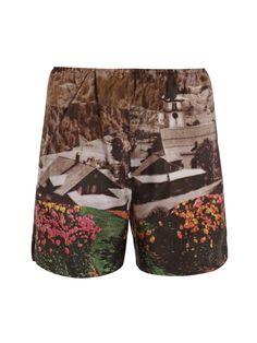 mountain-print silk shorts