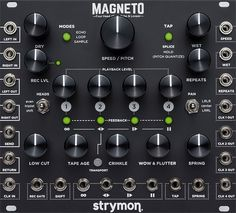 Tape Delay, Looper, And More. Packed with powerful features while maintaining intuitive playability, Magneto is a stereo multi-head tape delay that also functions as a looper, phrase sampler, vintage spring reverb unit, phase-aligned clock multiplier, chaotic oscillator, zero latency sub-oscillator and more, with extensive CV I/O.
