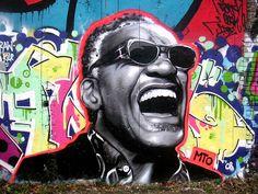 Ray Charles, street art.