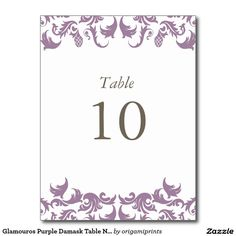 Glamouros Purple Damask Table Numbers Postcard