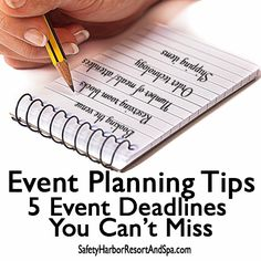Event planning tips - 5 event deadlines you can't miss safety harbor r Event Planning Template, Event Planning Quotes, Event Planning Checklist, Planning Budget, Tricks, Creative, Blogging, Social Media, Safety Harbor