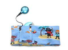 Bandeau de sport Enfant pour implant cochléaire - Taille enfant -Tissu jersey bleu à pirates : Accessoires coiffure par boisdesoluthe