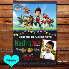 Paw Patrol Birthday InvitationPaw InvitePup InviteDigital Invite