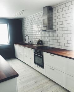Axstad from ikea with darker wood Open Plan Kitchen Living Room, Kitchen Dinning, Dining, Average Kitchen Remodel Cost, Ikea Kitchen Cabinets, Decorating Your Home, Modern, Inspiration, Kitchen Ideas