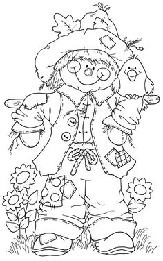 Scarecrow Coloring Pages Printable - Coloring For Kids 2019 Fall Coloring Pages, Adult Coloring Pages, Coloring Pages For Kids, Coloring Books, Free Coloring, Free Colouring Pages, Fall Coloring Sheets, Whimsy Stamps, Digi Stamps