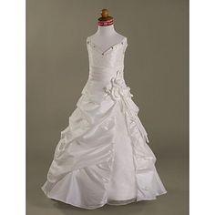 A-line Spaghetti Straps Floor-length Taffeta Organza Flower Girl Dress – AUD $ 79.32