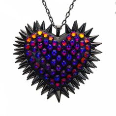 """Xirius"" Spiked & Pavèd Heart Necklace in Volcano"